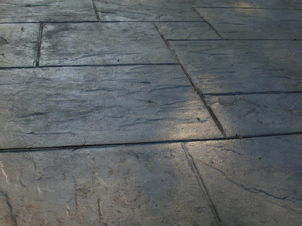 freshly-stamped-concrete-patio-curing-and-drying